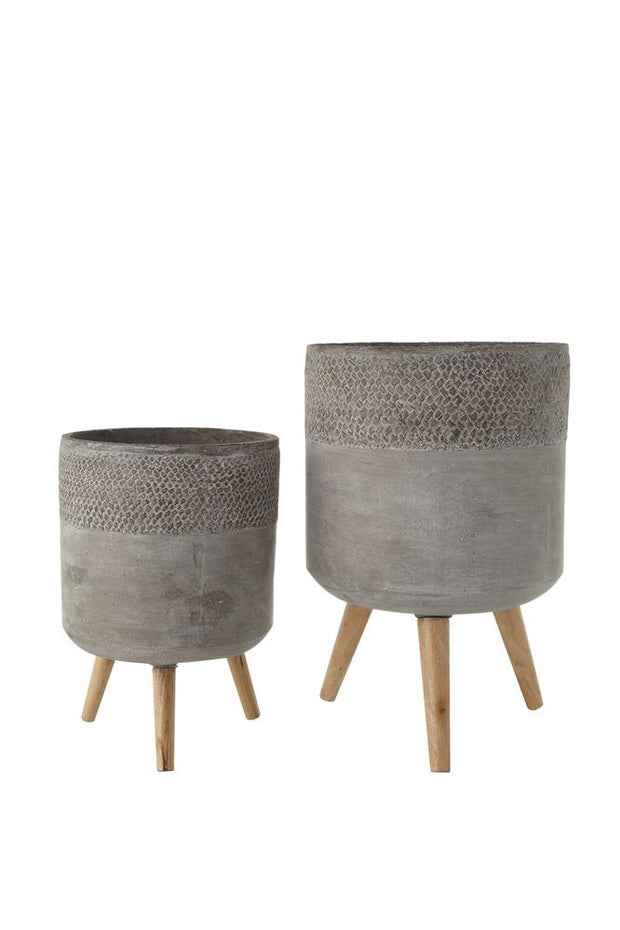 Cement Planters with Wooden Legs, set of 2