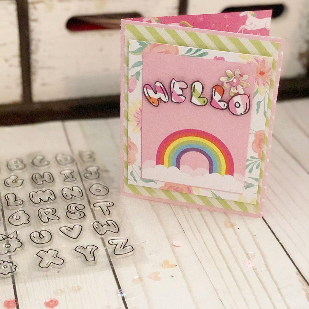 Outline English Alphabets Stamps