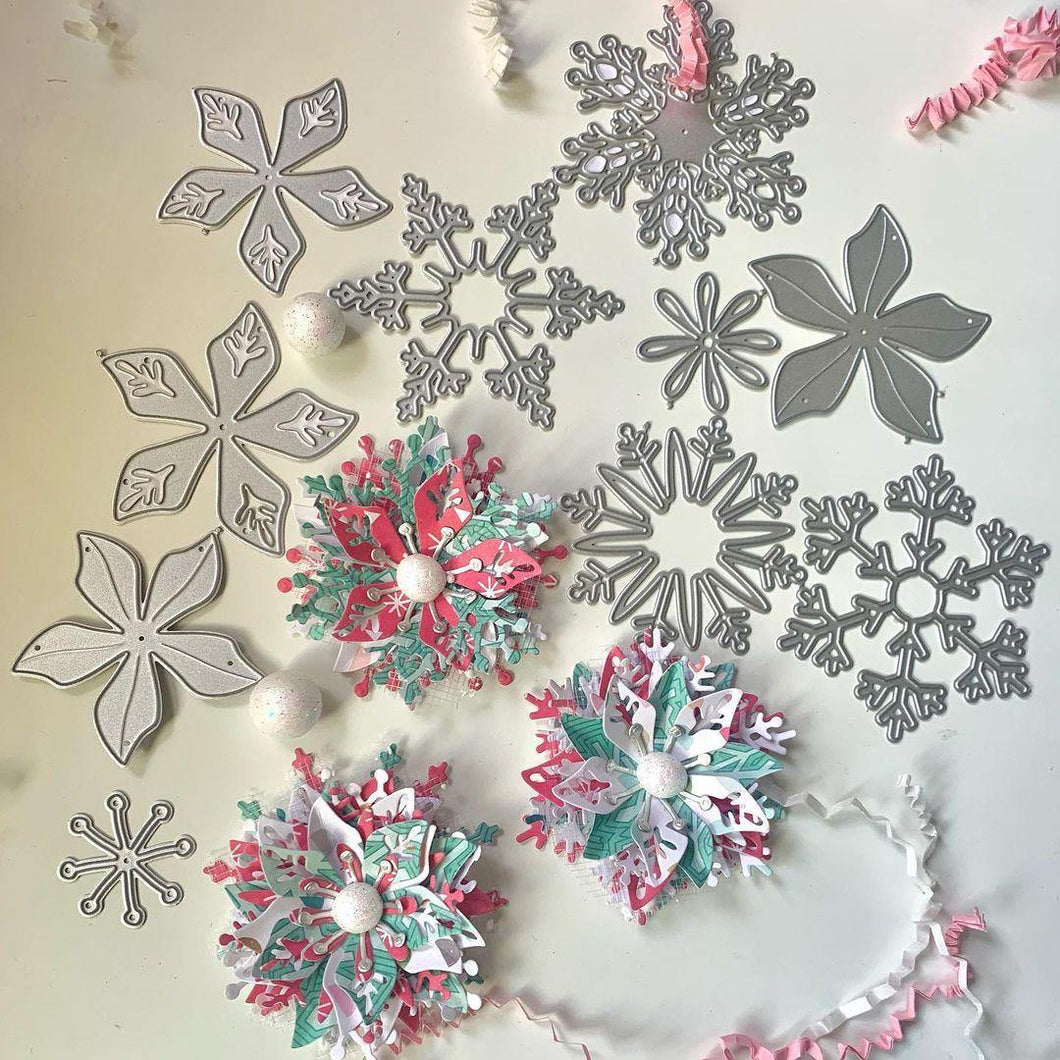 Multiple Christmas Snowflakes and Flowers Decor Dies