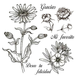Beautiful Flowers Collection Dies with Stamps Set