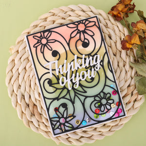 Rectangular Hollow Flower Background Dies