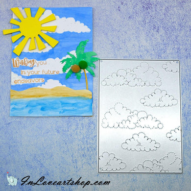 Clouds Stitched Embossing Backdrop Dies