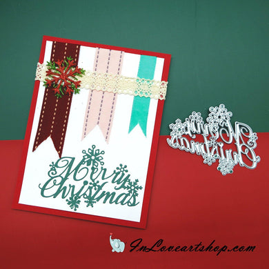 Merry Christmas Words with Snowflakes Decor Dies