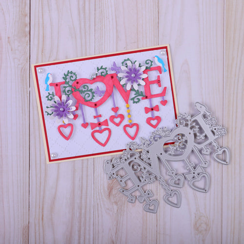 Love with Hanging Heart Decor Dies