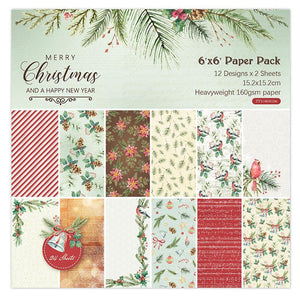 (2 Types) 6-Inch DIY  Scrapbook & Cardmaking Christmas Background Paper (24PCS)