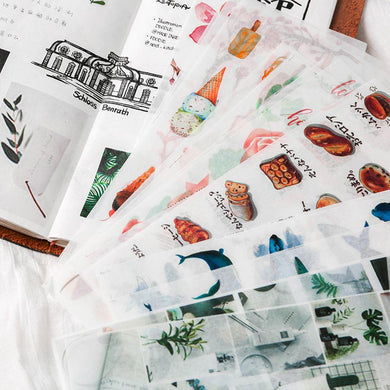 (11 Types)Cartoon and Daily Viscous Paper Decorative  Stickers<25pcs>