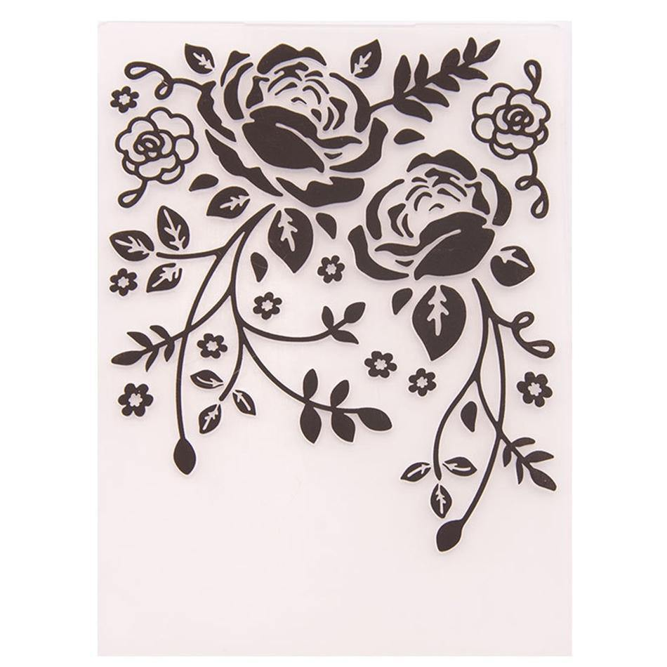Blooming Rose Plastic Embossing Folder