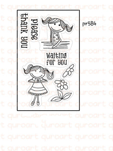 Waiting Girl Stamps