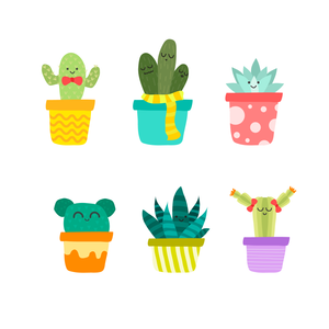 Cute Personific Potted Plant Stamps