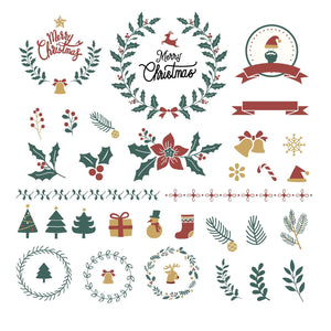 Merry Christmas Elements Decor Stamps