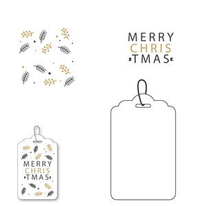 Merry Christmas  with Mistletoe Tag Stamps