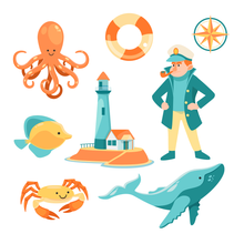 Load image into Gallery viewer, Lighthouse & Marine Life Stamps