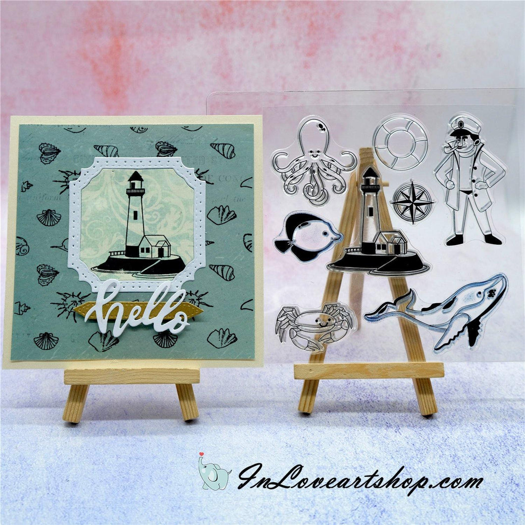 Lighthouse & Marine Life Stamps
