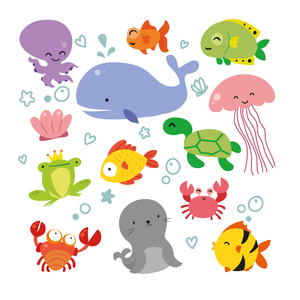 Cute Ocean Biology Stamps