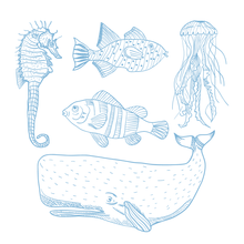 Load image into Gallery viewer, Whale,Seahorse & Octopus Stamps