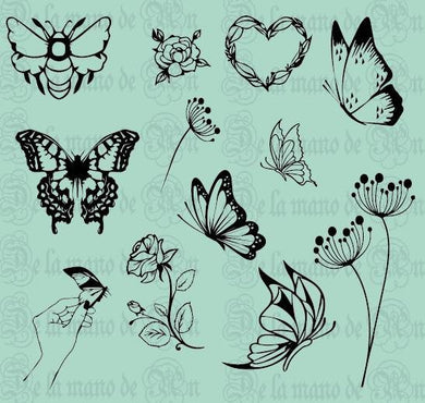 Vintage Butterflies & Flowers Stamps