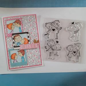 Boy And Girl Love Comic Stamps