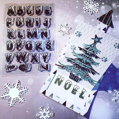 Christmas Series: Bold English Letter Snowflake Alphabet Stamps