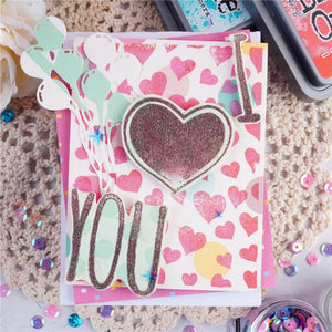 I Heart You Background Stamps
