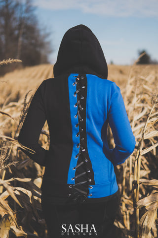 Blue and Black Corset Hoodie