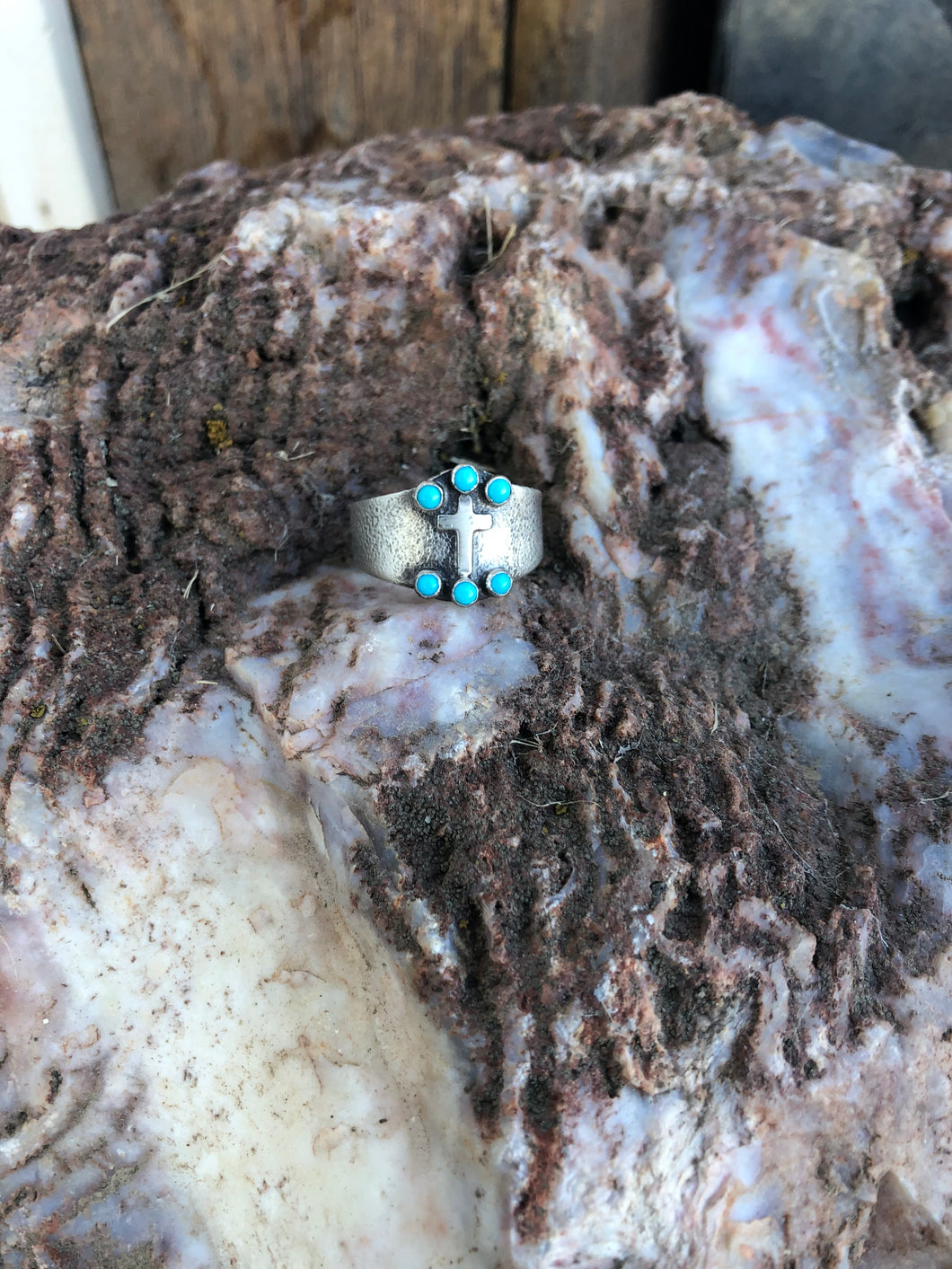 The Ester-Turquoise & Cross Ring