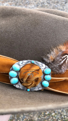 The Gambler-Turquoise & Silver Hat Slide