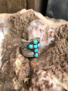 The Ruth-Wide Kingman Turquoise Cross Ring