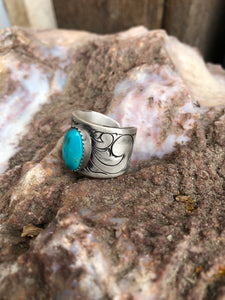 The Gemma-Turquoise Wide Ring