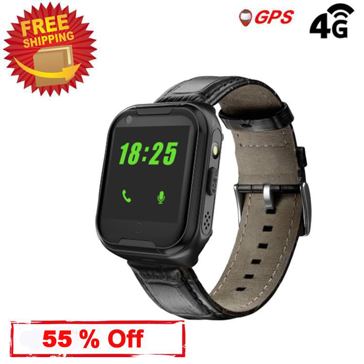 Laxcido Elderly GPS Smart Watch, 4G Heart Rate Blood Pressure Monitoring Smartwatch, Video Call Step Counter Geo-Fence SOS Voice Messages Waterproof Tracker Phone Watch for Dementia Alzheimer's