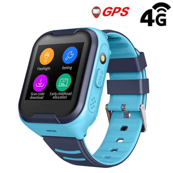 4G Kids Video Phone Call Waterproof Real-time Tracking Camera SOS Alarm Geo-Fence Touch Screen Monitoring Health Steps Flashlight Anti-Lost GPS Tracker Watch