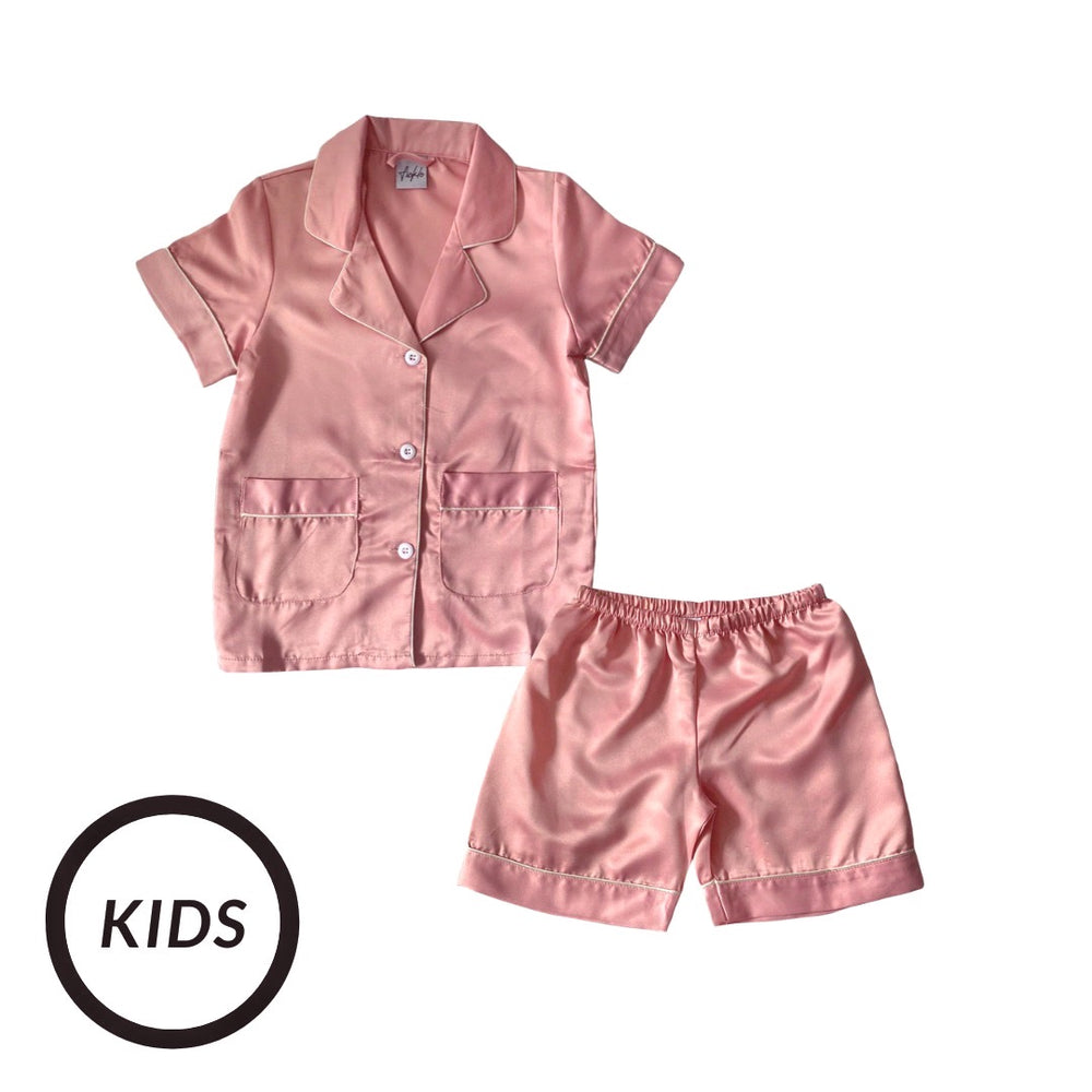 Stay in Satin (Kids) Short Sleeves Set in Sweet Pink