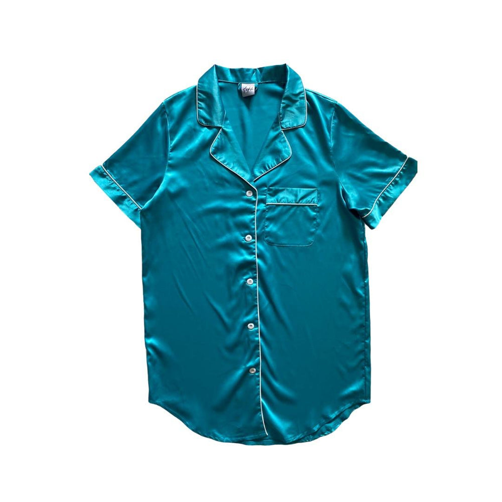 Stay in Satin - Button Down Short Sleeves Dress in Turquoise
