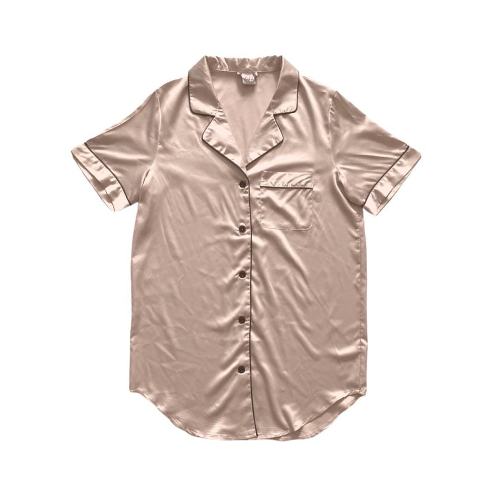 Stay in Satin - Button Down Short Sleeves Dress in Champagne