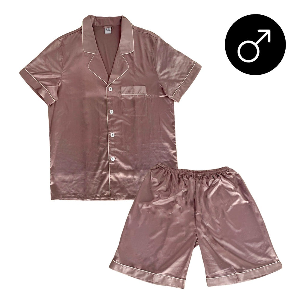Stay in Satin - Men Short Sleeves Set in Mauve
