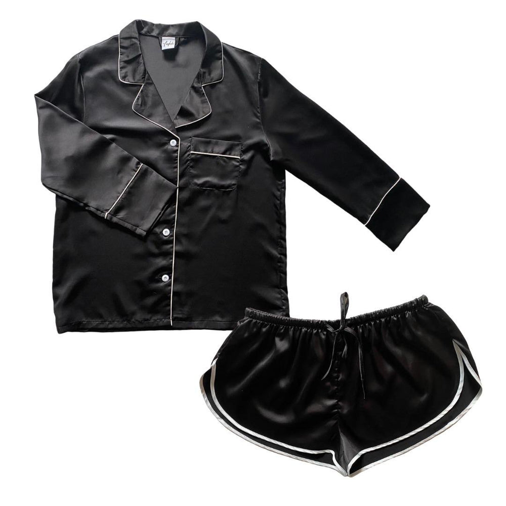 Stay in Satin - Long Sleeves & Shorts in Black