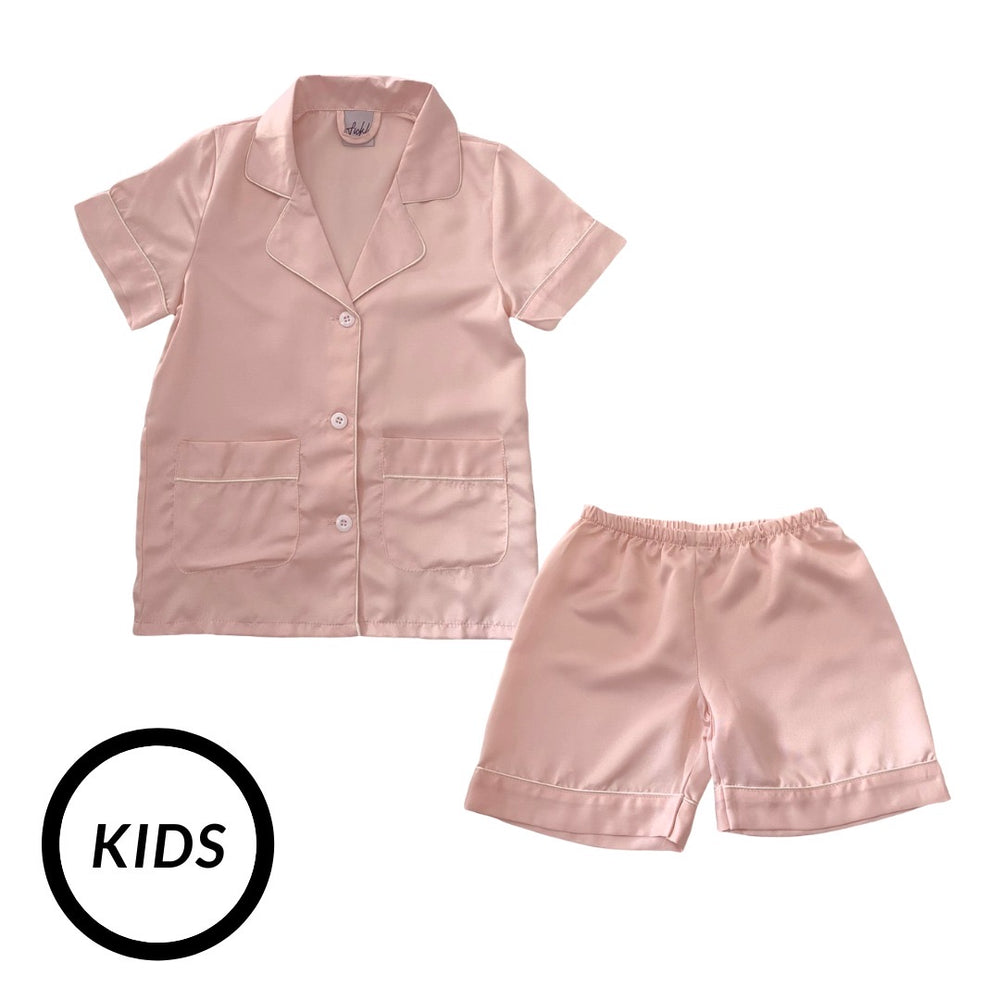 Stay in Satin (Kids) Short Sleeves Set in Nude Pink