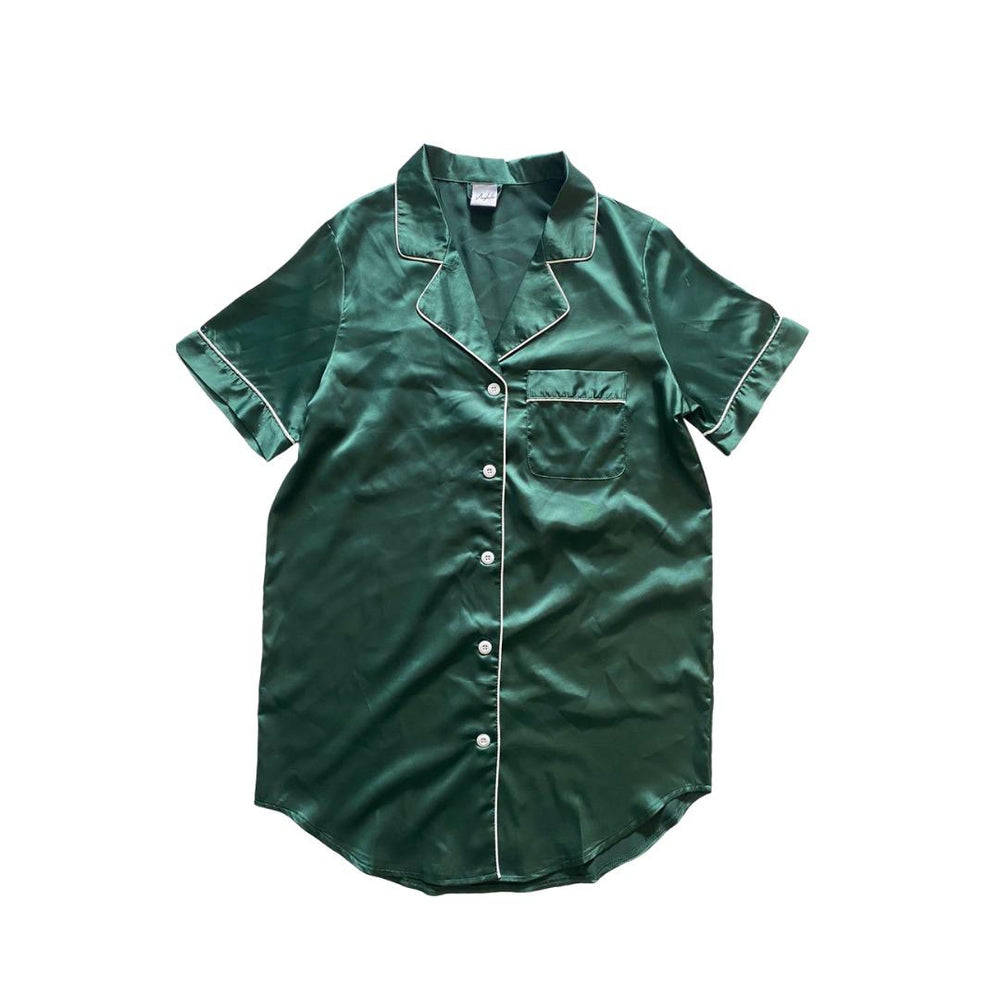 Stay in Satin - Button Down Short Sleeves Dress in Forest Green