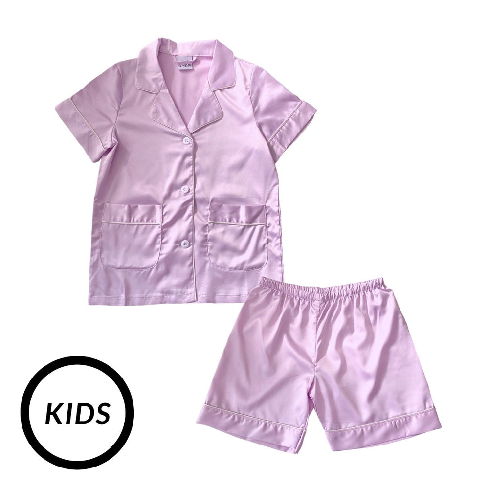Stay in Satin (Kids) Short Sleeves Set in Pastel Purple