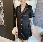 Stay in Satin - Short Sleeves Button Down Shirt in Black