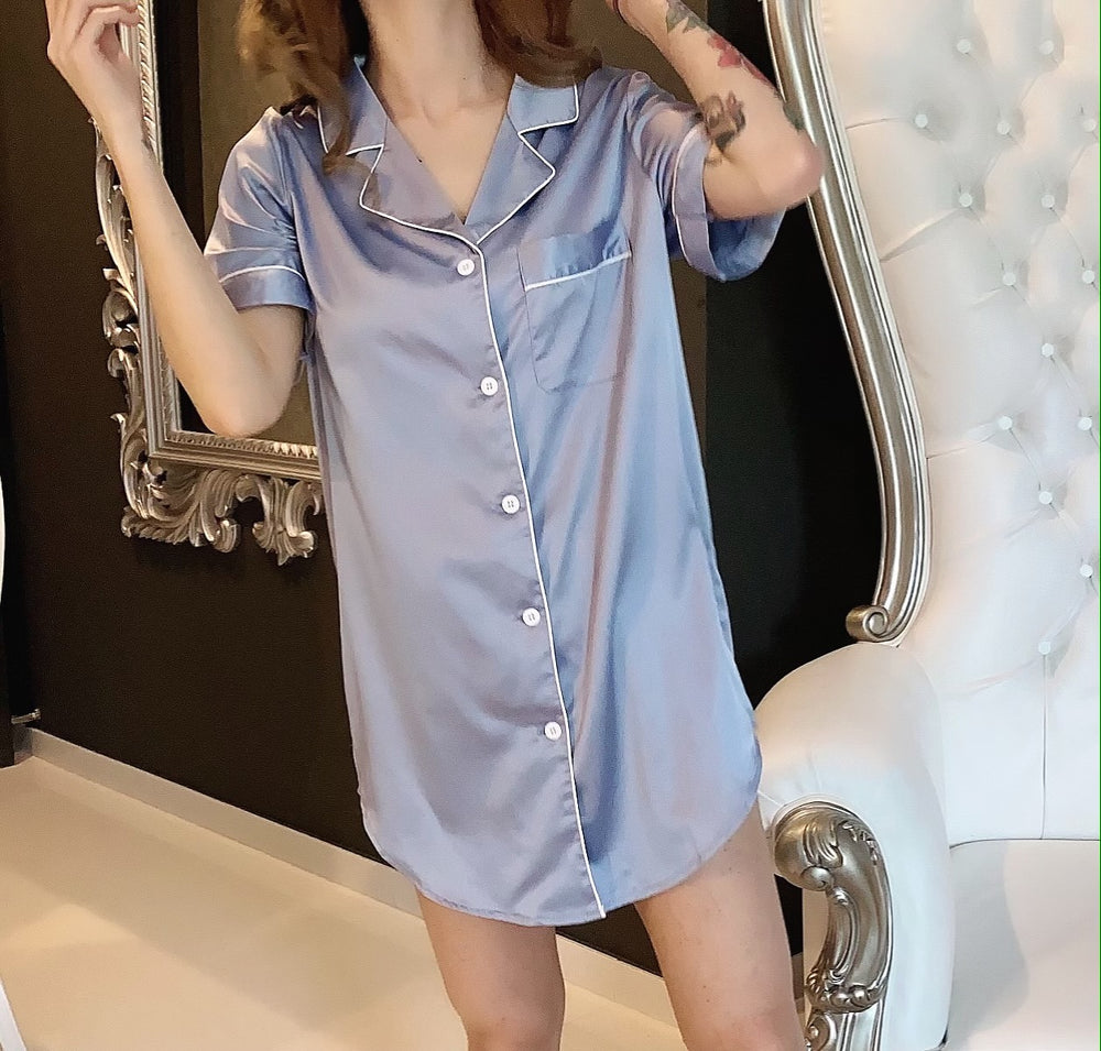 Stay in Satin - Short Sleeves Button Down Shirt in Dusty Blue