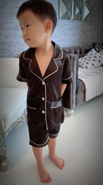Stay in Satin (Kids) Short Sleeves Set in Black