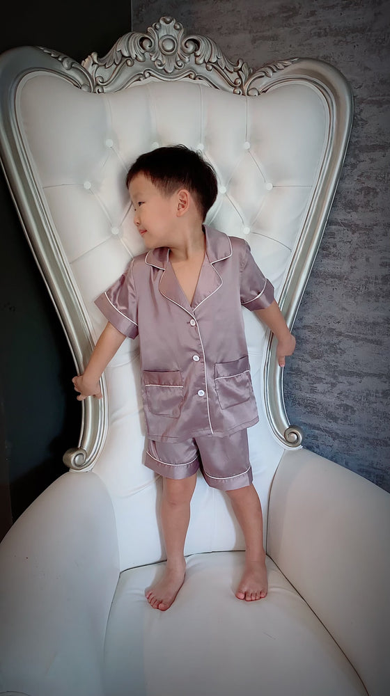 Stay in Satin (Kids) Short Sleeves Set in Mauve