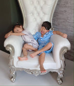 Stay in Satin (Kids) Short Sleeves Set in Sky Blue