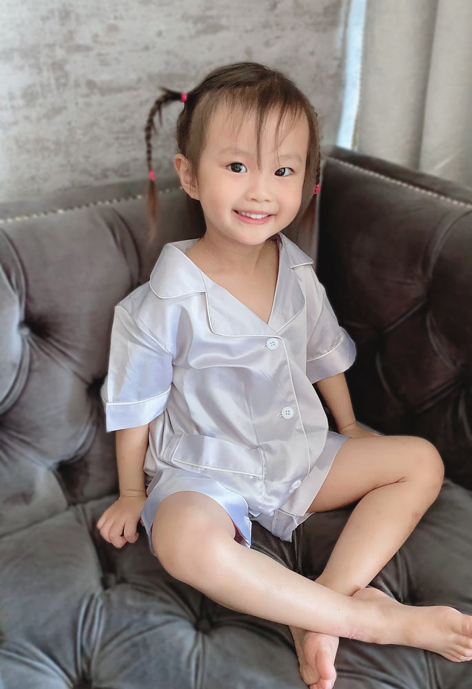 Stay in Satin (Kids) Short Sleeves Set in Cool Grey