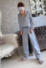 Stay in Satin - Long Sleeves Set in Dusty Blue