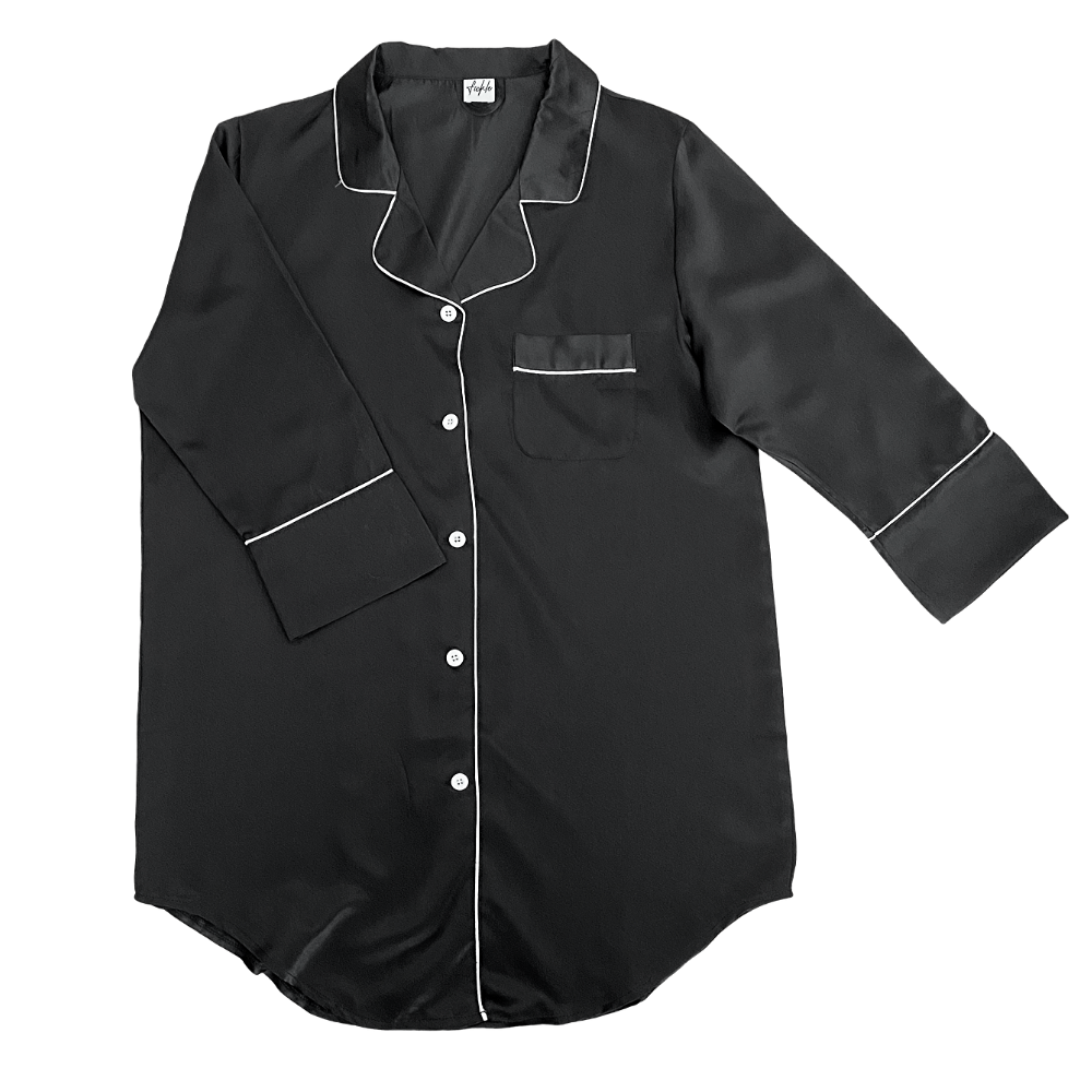 Stay in Satin - Button Down Shirt in Black