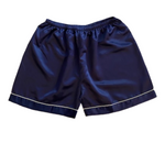 Stay in Satin - Short Sleeves Set in Navy Blue