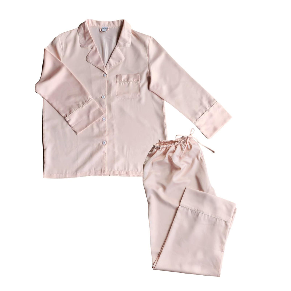 Stay in Satin - Long Sleeves Set in Pale Blush