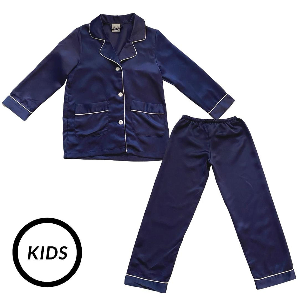 Stay in Satin (Kids) Long Sleeves Set in Navy