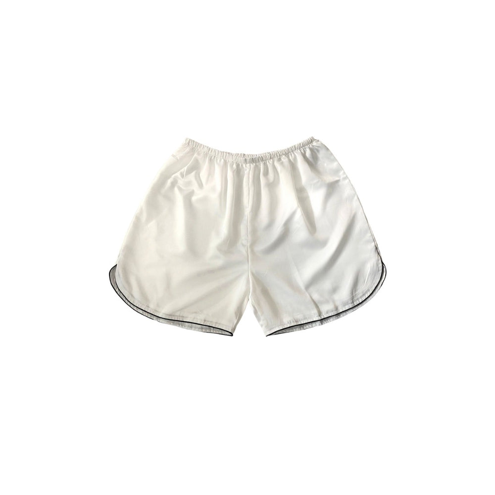 Stay in Satin - Mens Satin Curve Hem Shorts (White)
